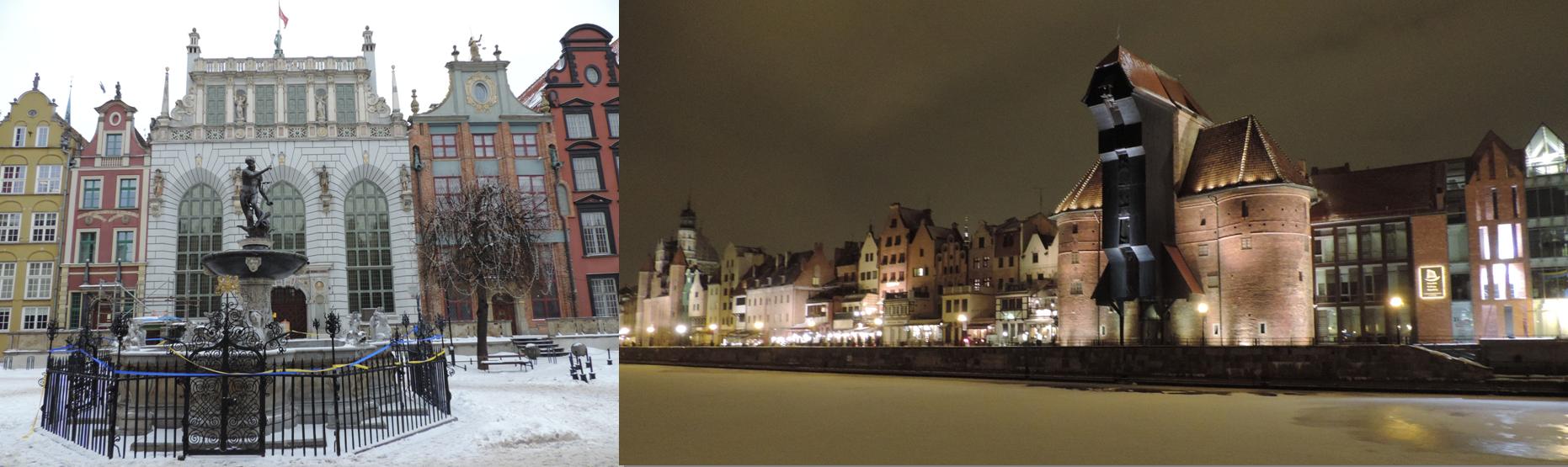 Fontanna Neptuna y Grúa de Gdańsk, los dos símbolos de la ciudad. La segunda es un simbolo de la riqueza de esta ciudad en el pasado, capaz de elevar 4 toneladas ya en el S XIV. Además en la ciudad se encuentra el gran molino, capaz de moler 200 toneladas de cereales al día en el siglo XIV y que durante mucho tiempo fue la mayor inversión de Europa Medieval.