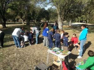 Parte del grupo realizando los talleres de caretas y de comederos para aves en Boadilla del Monte.